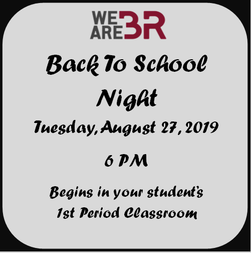 Back to School Night: Aug 26 at 6 PM