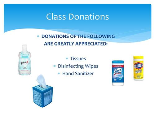 Donations For Hand Sanitizer and Wipes Would Help Tremendously For The Upcoming Year