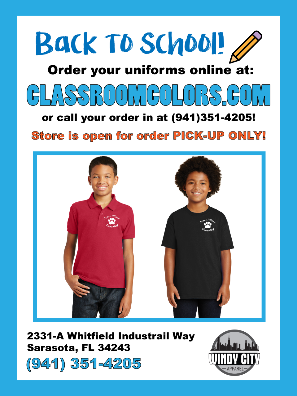 "Parents please go to the website (classroomcolors.com) and choose ""Tillman Elementary"" as the school.  Then your order can be shipped directly to your home"