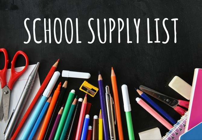 2019-2020 Middle School Supply list