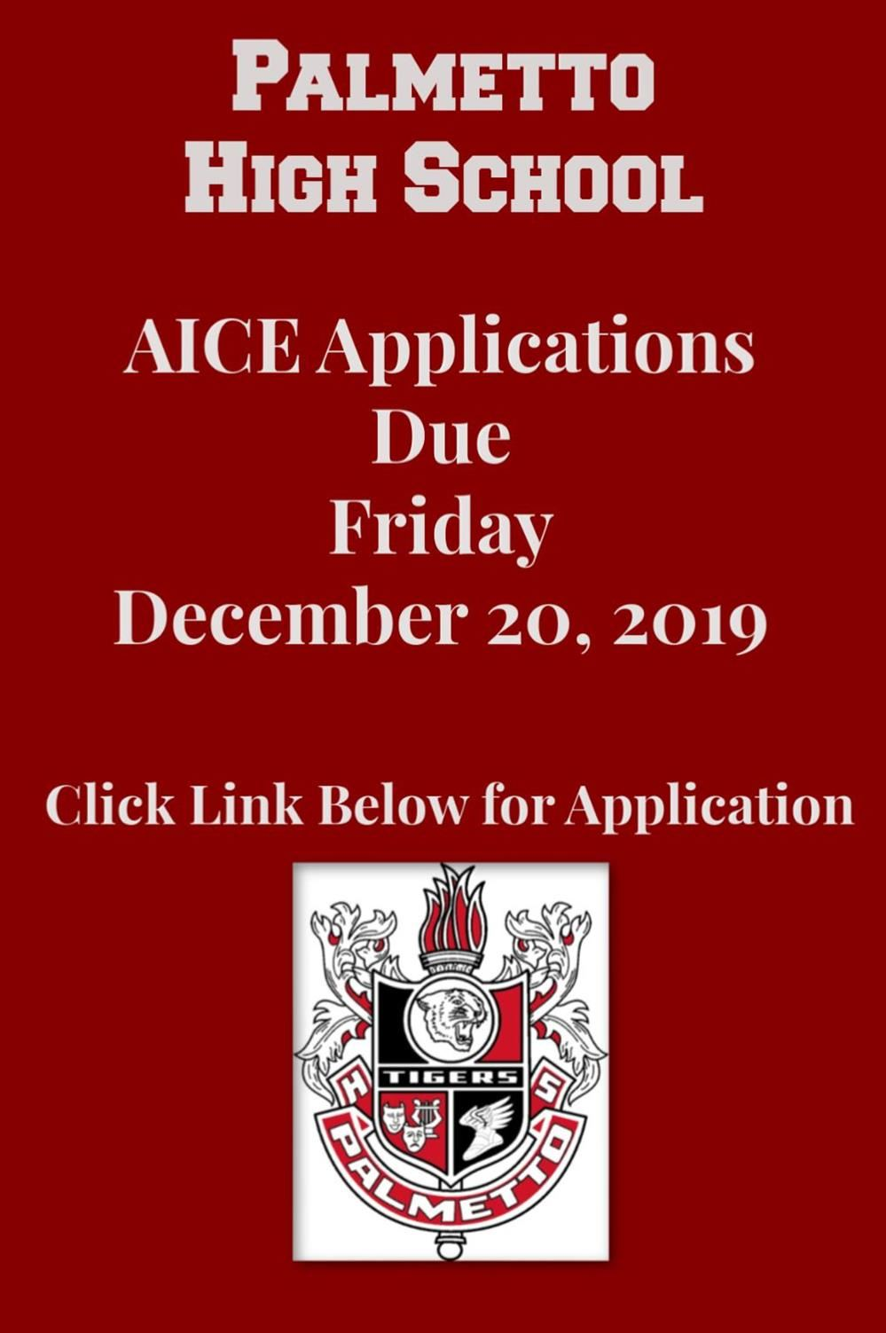 AICE Applications Due 12/20