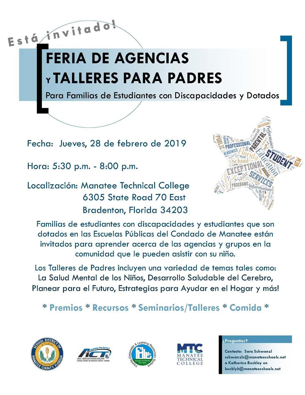 2019 ESE Agency Fair and Parent Workshop Spanish