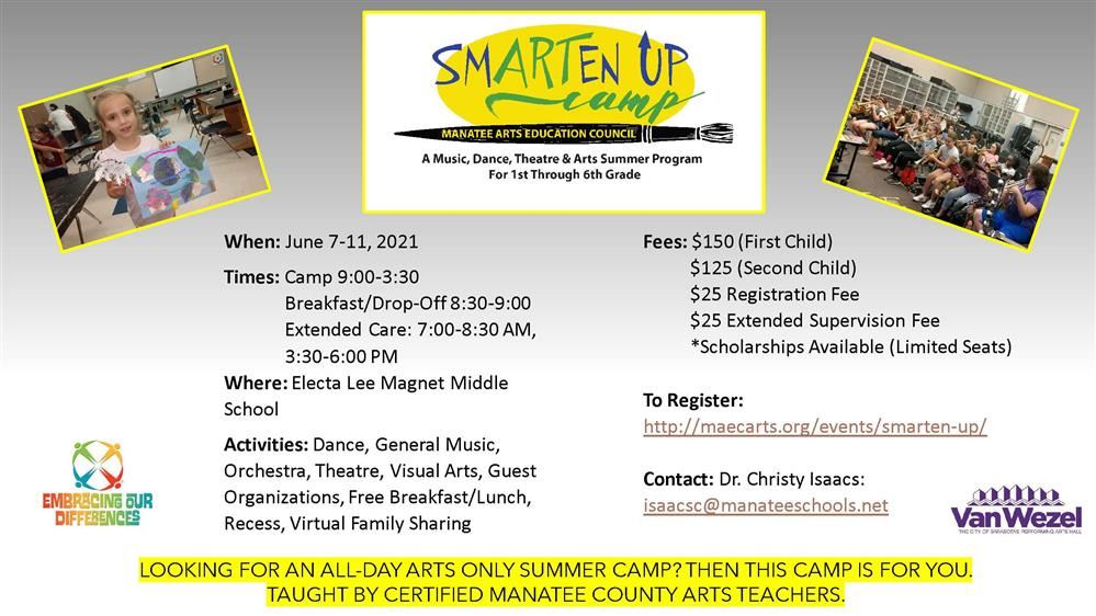 When:June 7-11, 2021 Times:Camp 9:00-3:30 Breakfast/Drop-Off 8:30-9:00 Extended Care: 7:00-8:30 AM,